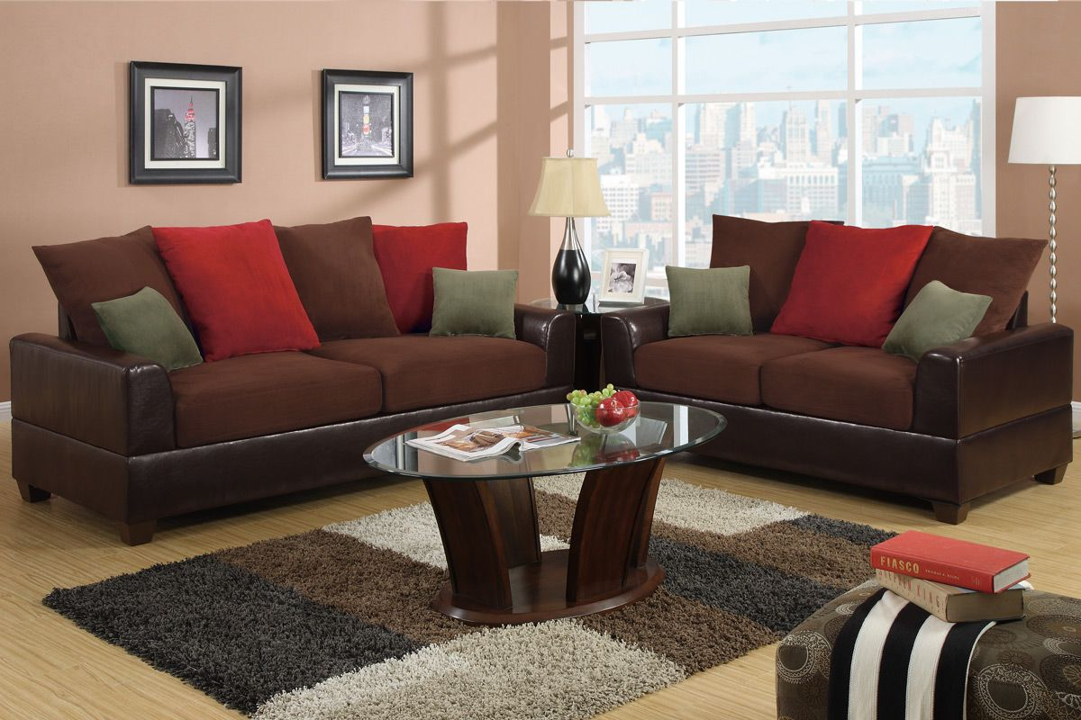 Poundex Kalei F7565 Red Leather Sofa And Loveseat Set Steal A Sofa Furniture Outlet Los Angeles Ca