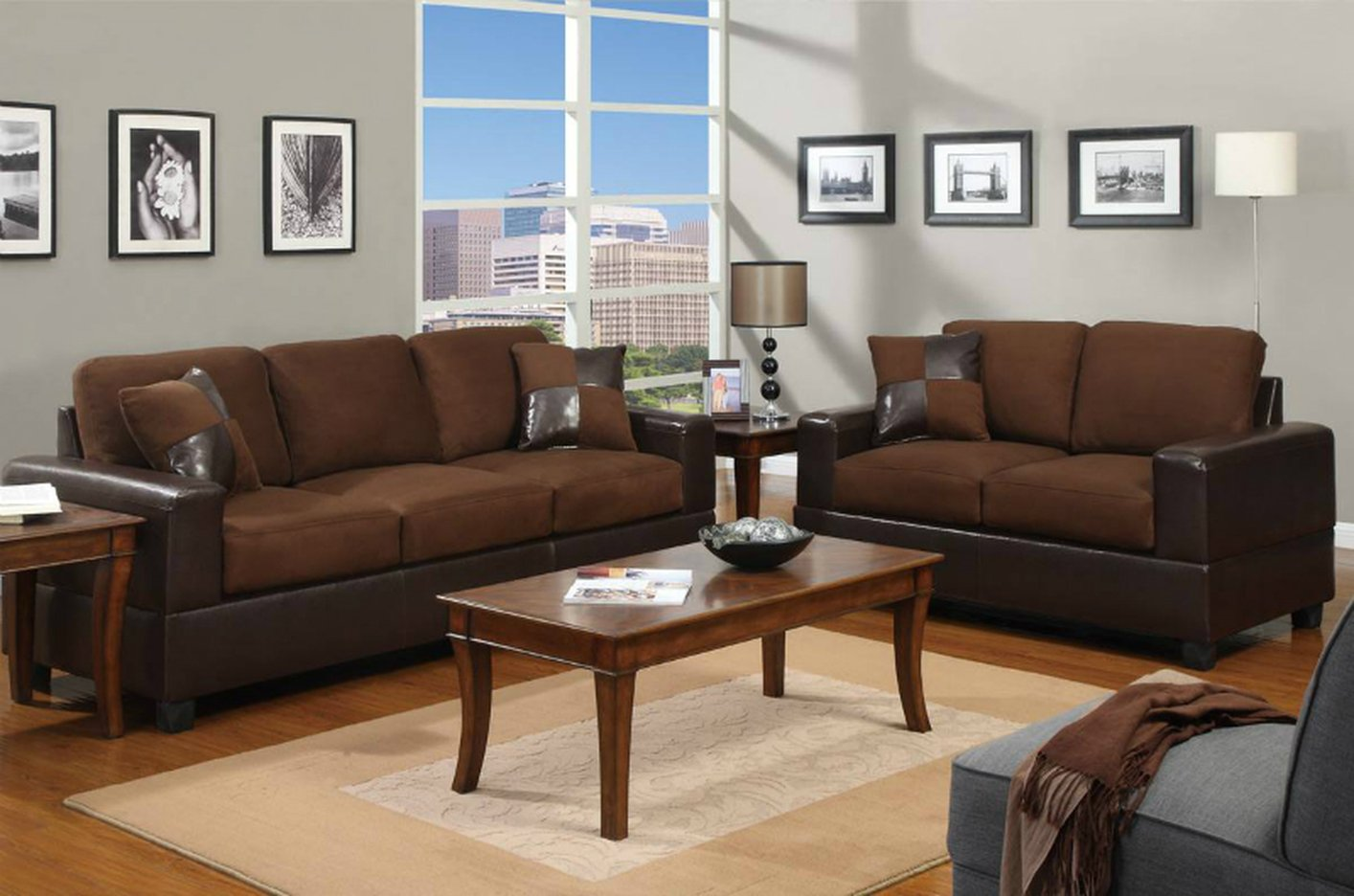 Poundex Tesse F7591 Brown Fabric Sofa And Loveseat Set Steal A Sofa Furniture Outlet Los