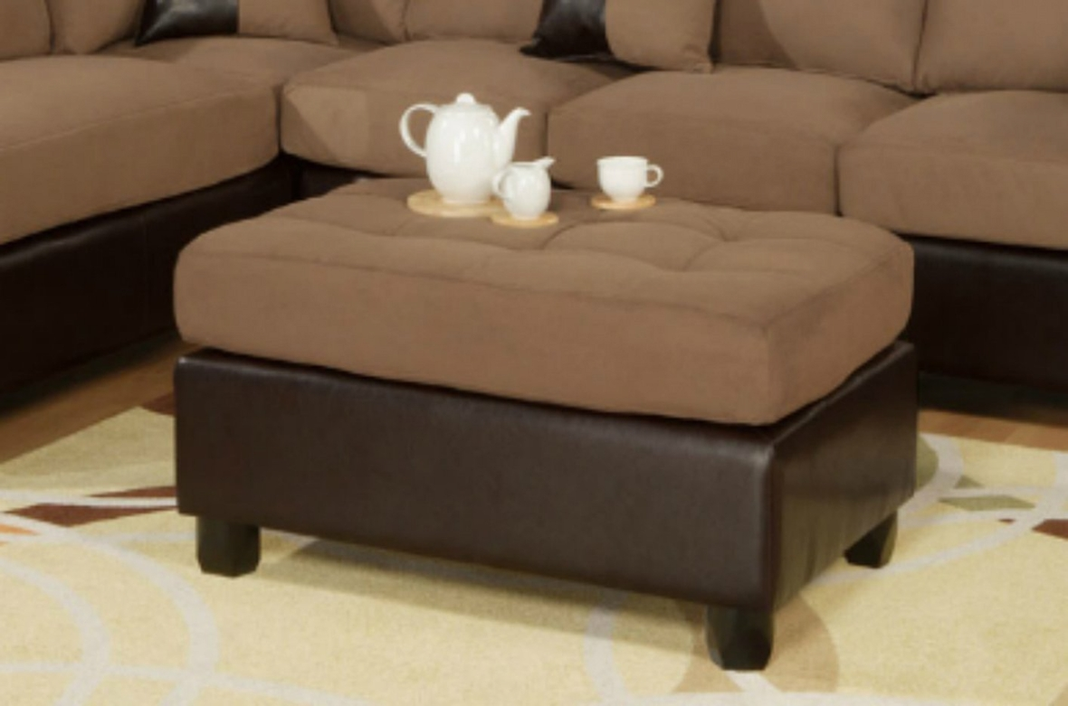 Poundex katja f7616 brown fabric sectional sofa and for Brown fabric couch