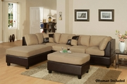 Katja Brown Leather Sectional Sofa and Ottoman