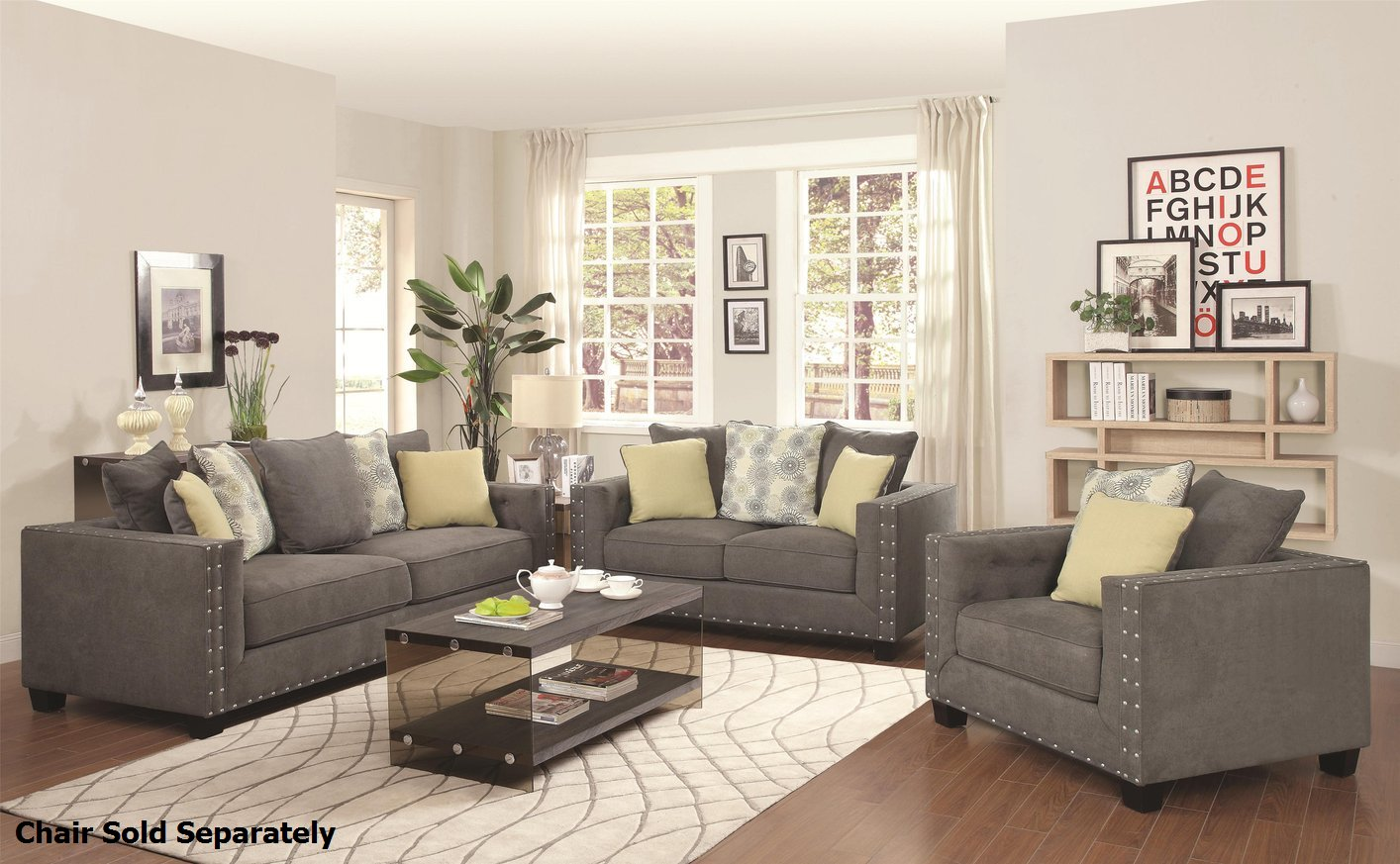 Kelvington Grey Fabric Reclining Sofa and Loveseat Set StealA
