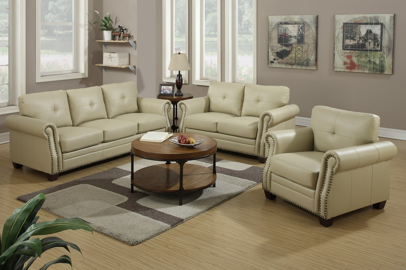 Poundex F7784 Beige Leather Sofa And Loveseat Set Steal A Sofa Furniture Outlet Los Angeles Ca