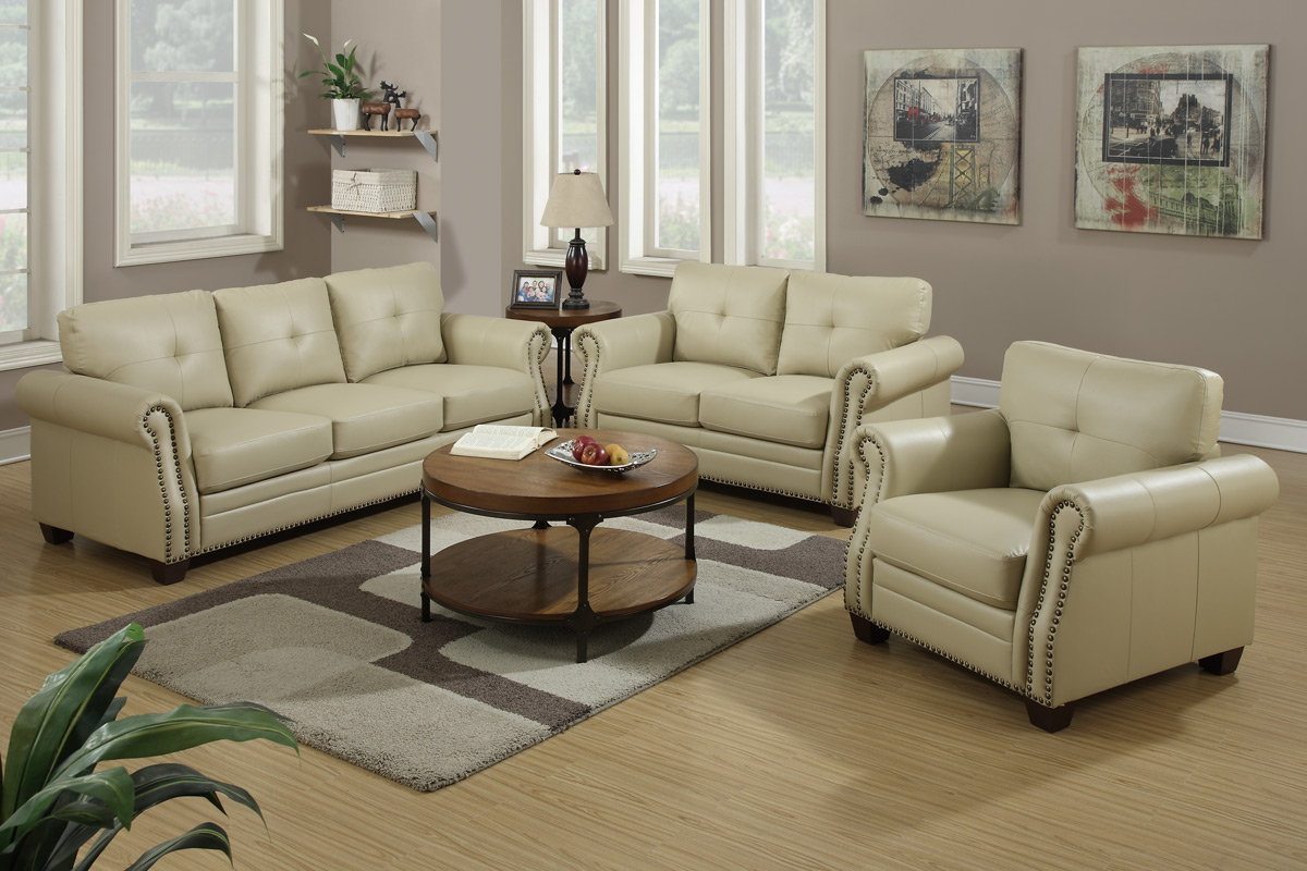 Exceptional Beige Leather Sofa And Loveseat Set