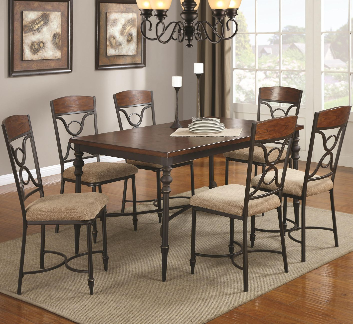 Klaus cherry metal and wood dining table set steal a for Wood dining table set