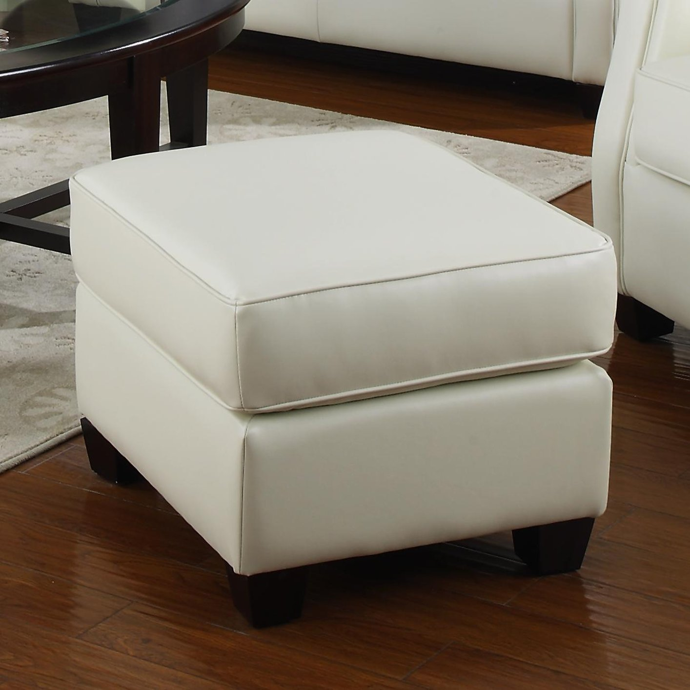 Kristyna beige leather ottoman steal a sofa furniture for Barcelona sectional sofa ottoman in beige