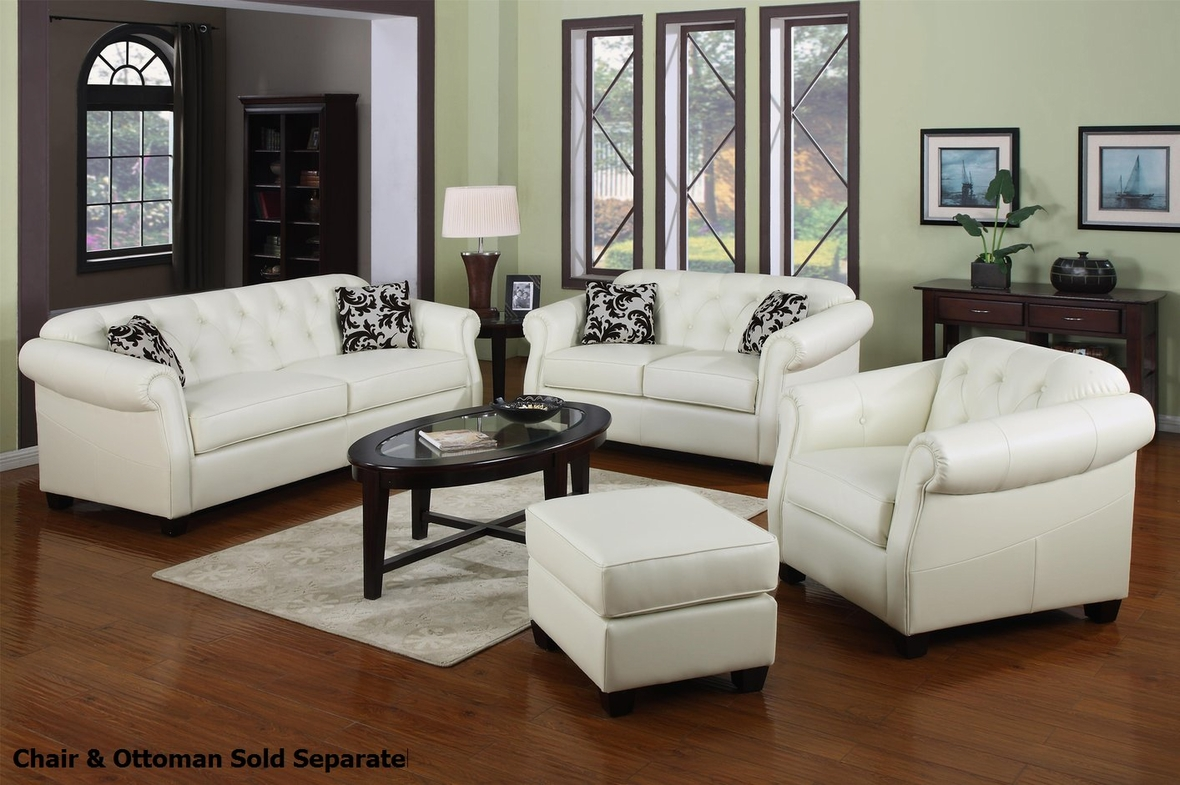 Kristyna white leather sofa and loveseat set steal a for Furniture 90036
