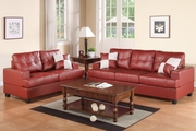 Kyler Red Leather Sofa and Loveseat Set