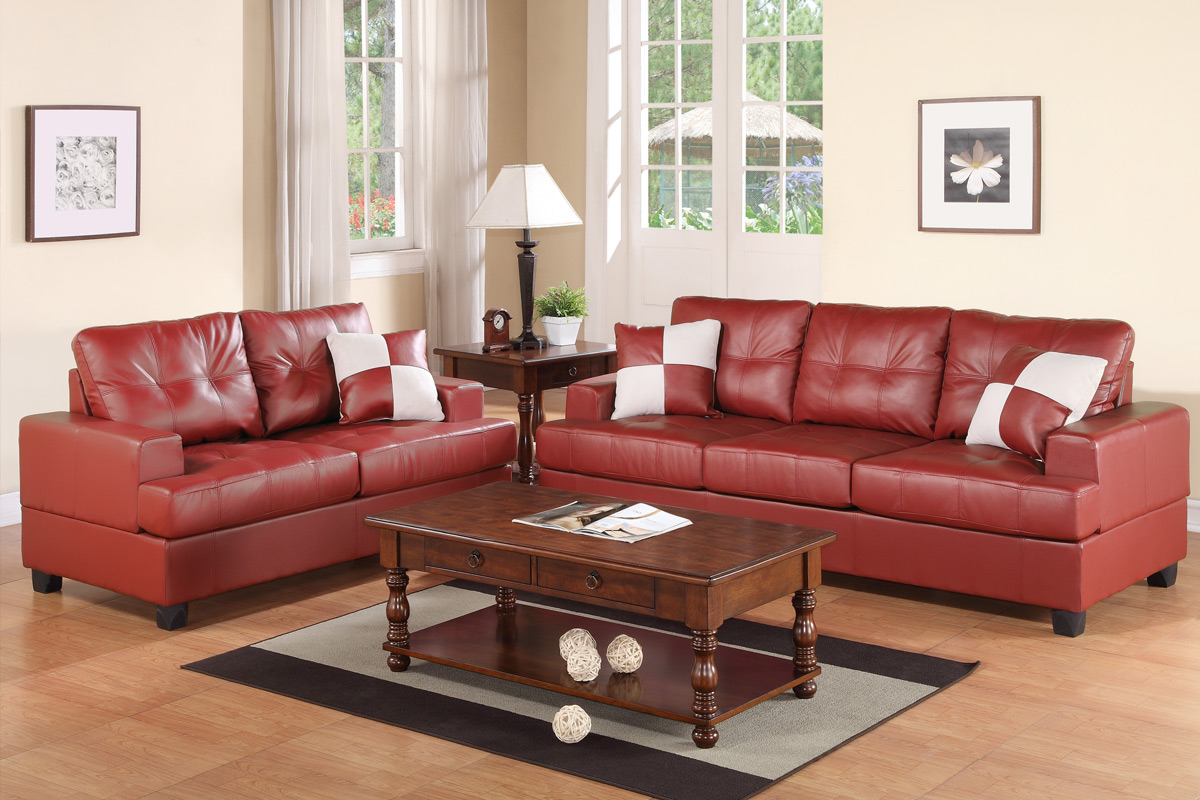 Red Leather Sofa And Loveseat Set Steal A Sofa Furniture