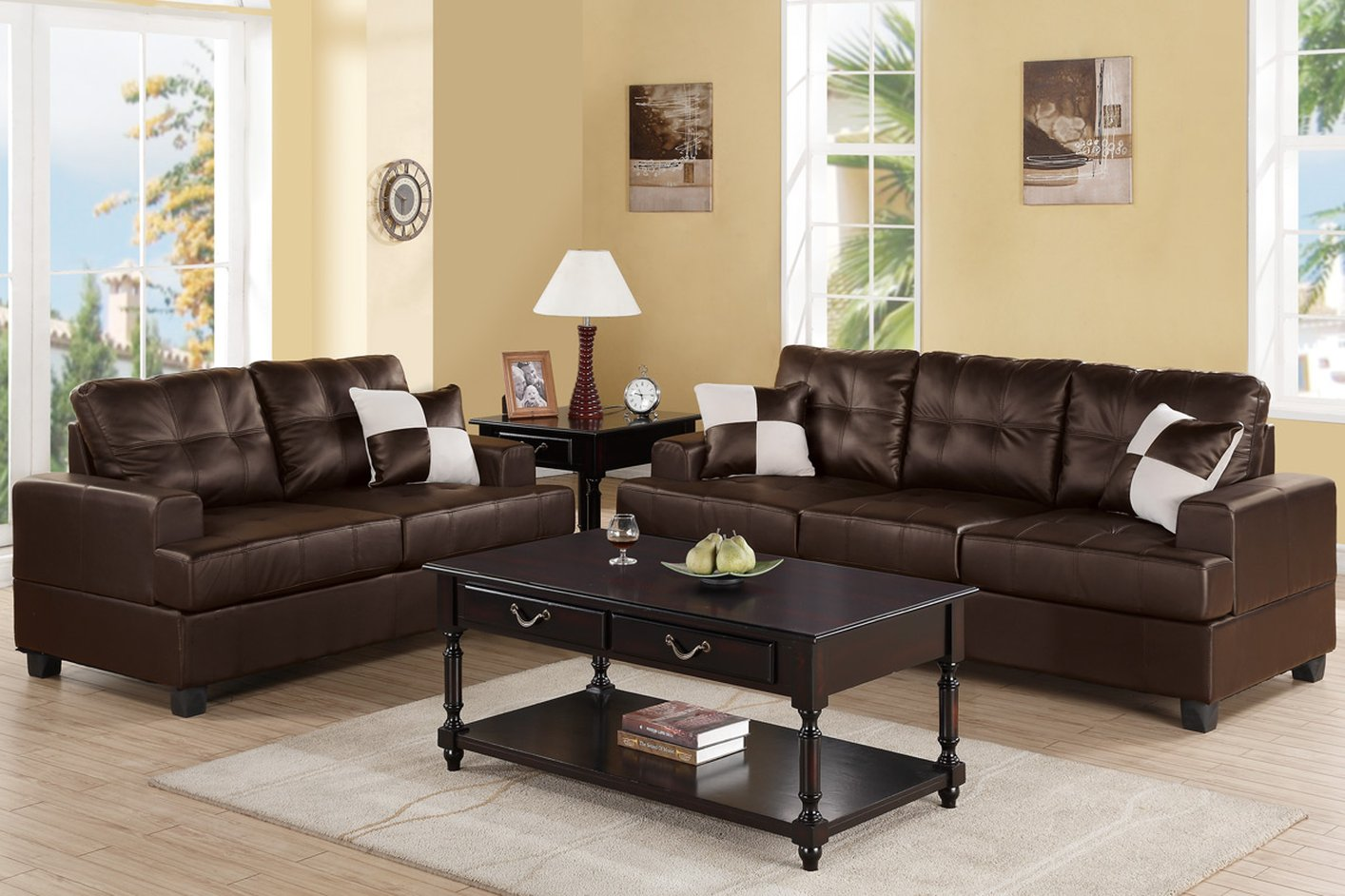 Poundex kyler f7577 brown leather sofa and loveseat set for Leather sofa and loveseat set