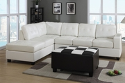Lando Cream Bonded Leather Sectional Sofa