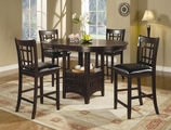 Lavon Cappuccino Wood Counter Height Dining Set