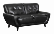 Leskow Black Leather Loveseat
