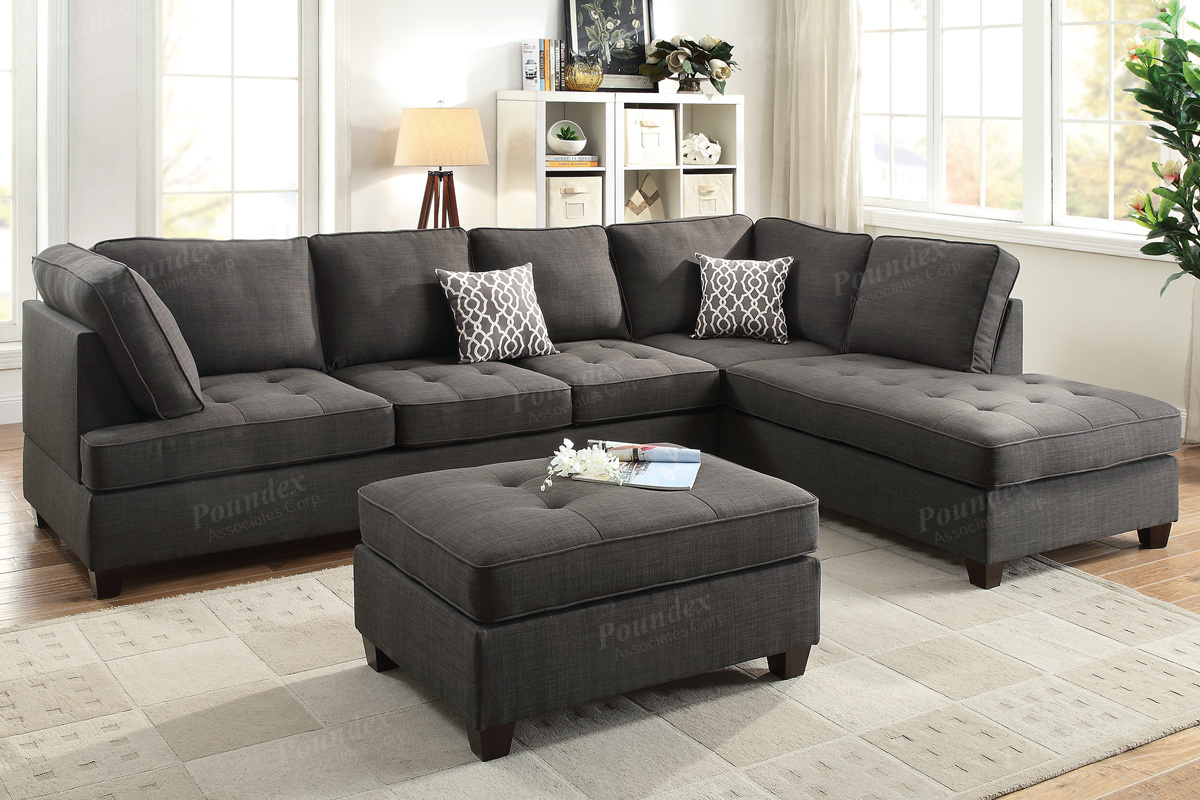 Black Fabric Sectional Sofa StealASofa Furniture Outlet Los