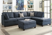 Lexi Blue Fabric Sectional Sofa