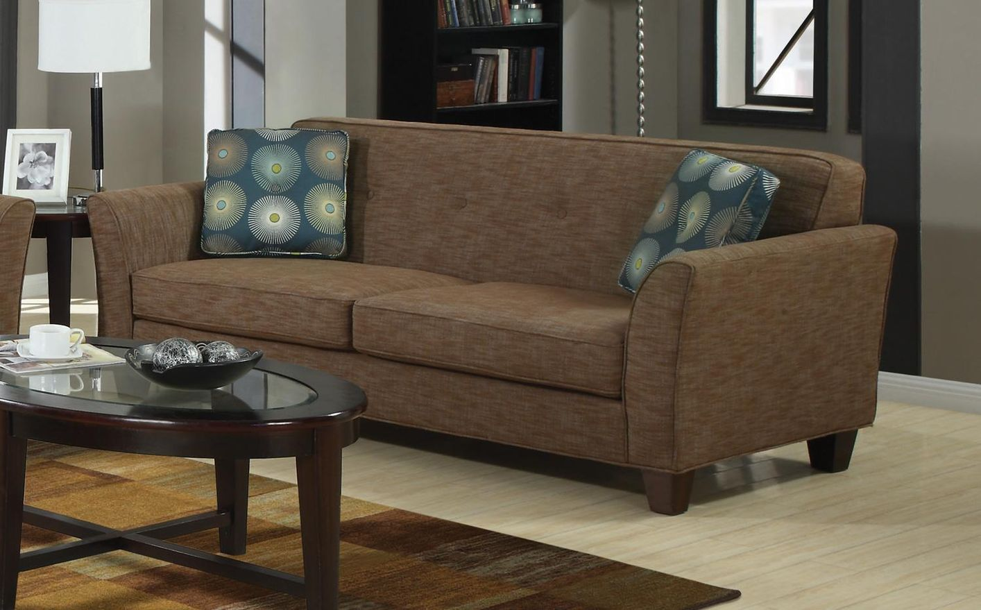 Lilian brown tweed sofa steal a sofa furniture outlet for Furniture 90036