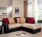 Lily Beige Microfiber Sectional Sofa