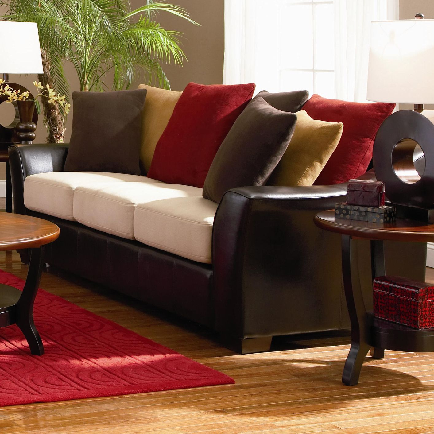 lily beige microfiber sofa steal a sofa furniture outlet los angeles ca. Black Bedroom Furniture Sets. Home Design Ideas