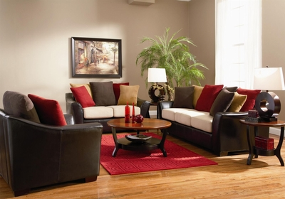 Lily Beige Microfiber Sofa And Loveseat Set