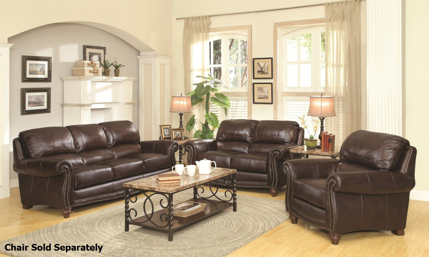 Lockhart Brown Leather Sofa And Loveseat Set