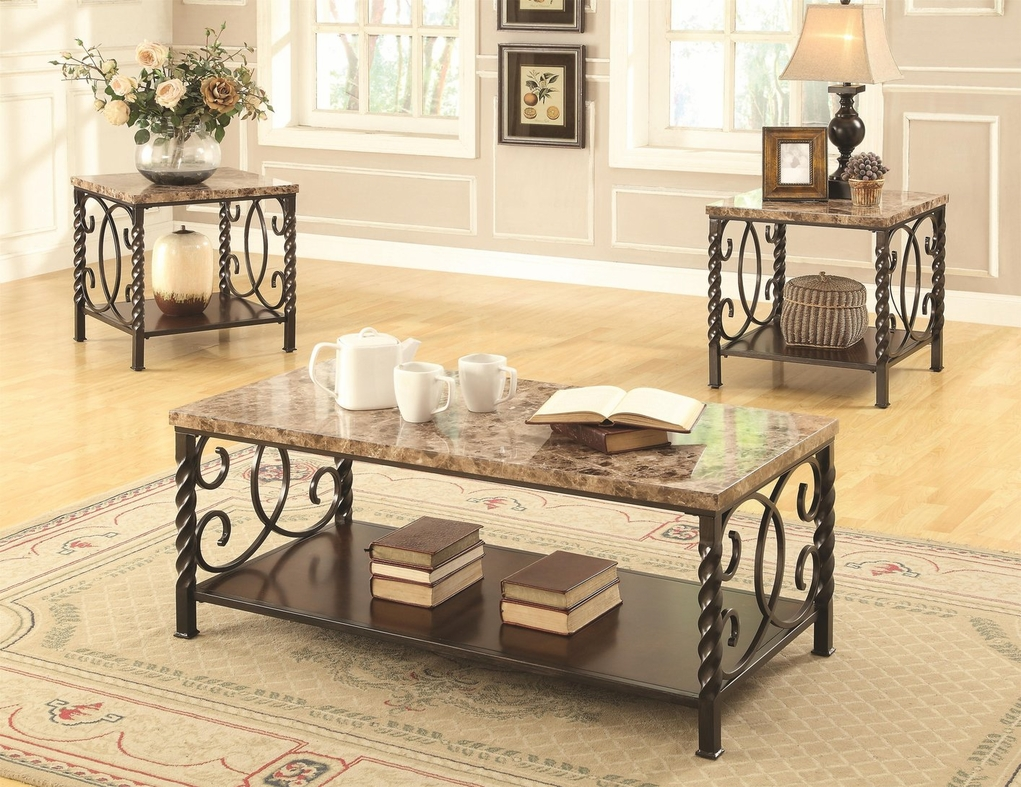 Lockhart Brown Marble Coffee Table Set - Coaster Lockhart 701695 Brown Marble Coffee Table Set - Steal-A