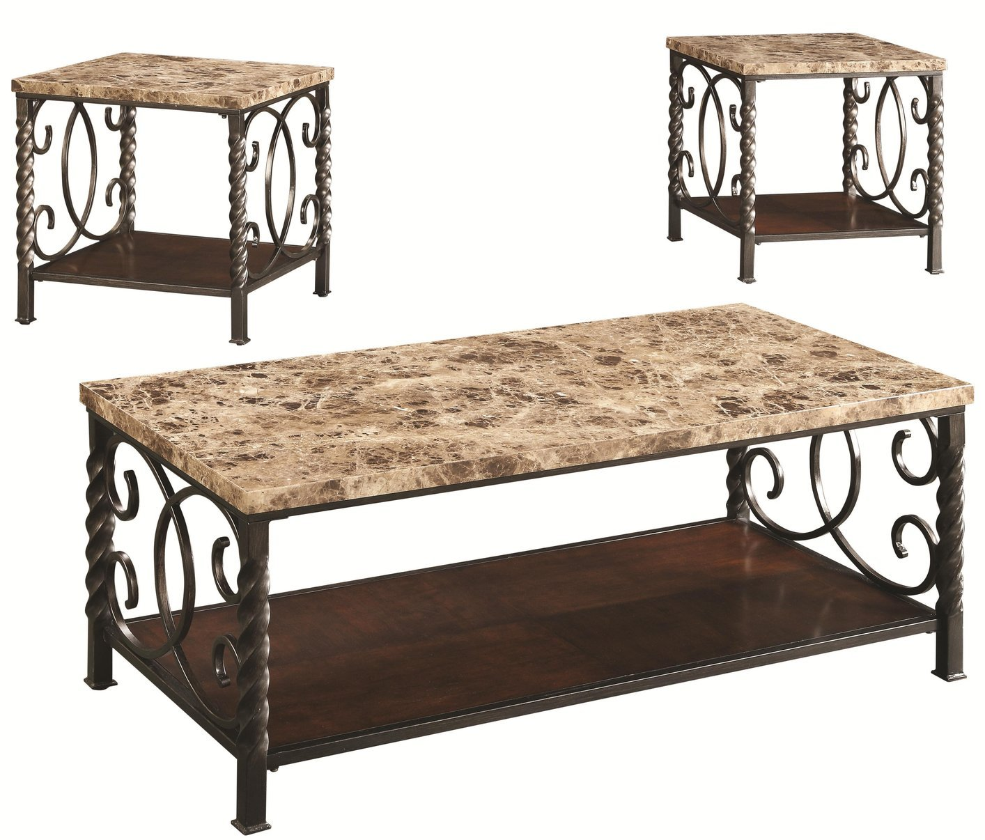 Lockhart Brown Marble Coffee Table Set Steal A Sofa Furniture Outlet Los Angeles Ca