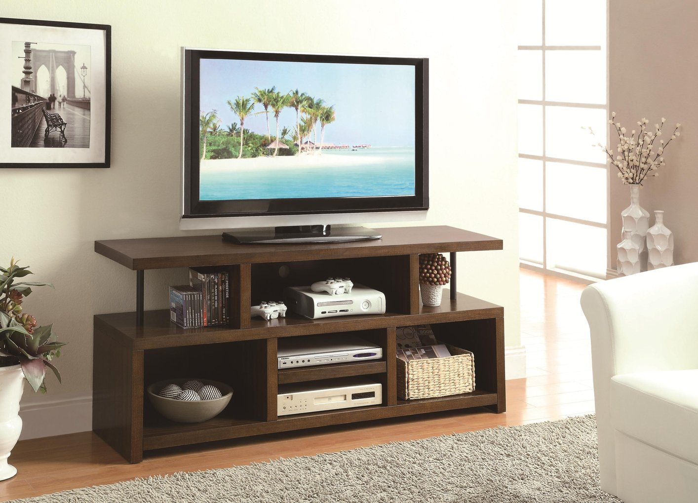 Coaster 701374 Brown Wood TV Stand Steal A Sofa