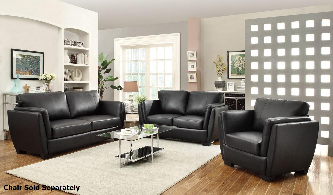 Coaster lois 503684 503685 black leather sofa and loveseat for Leather sofa and loveseat set
