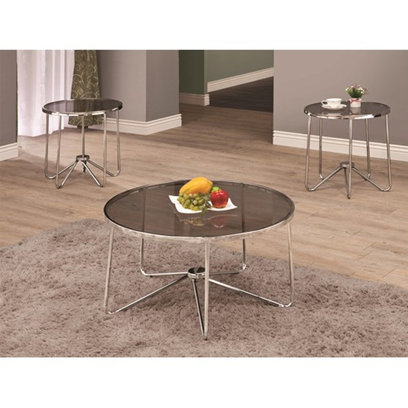 Coaster lois 702335 grey glass coffee table set steal a sofa furniture outlet los angeles ca Glass coffee table set