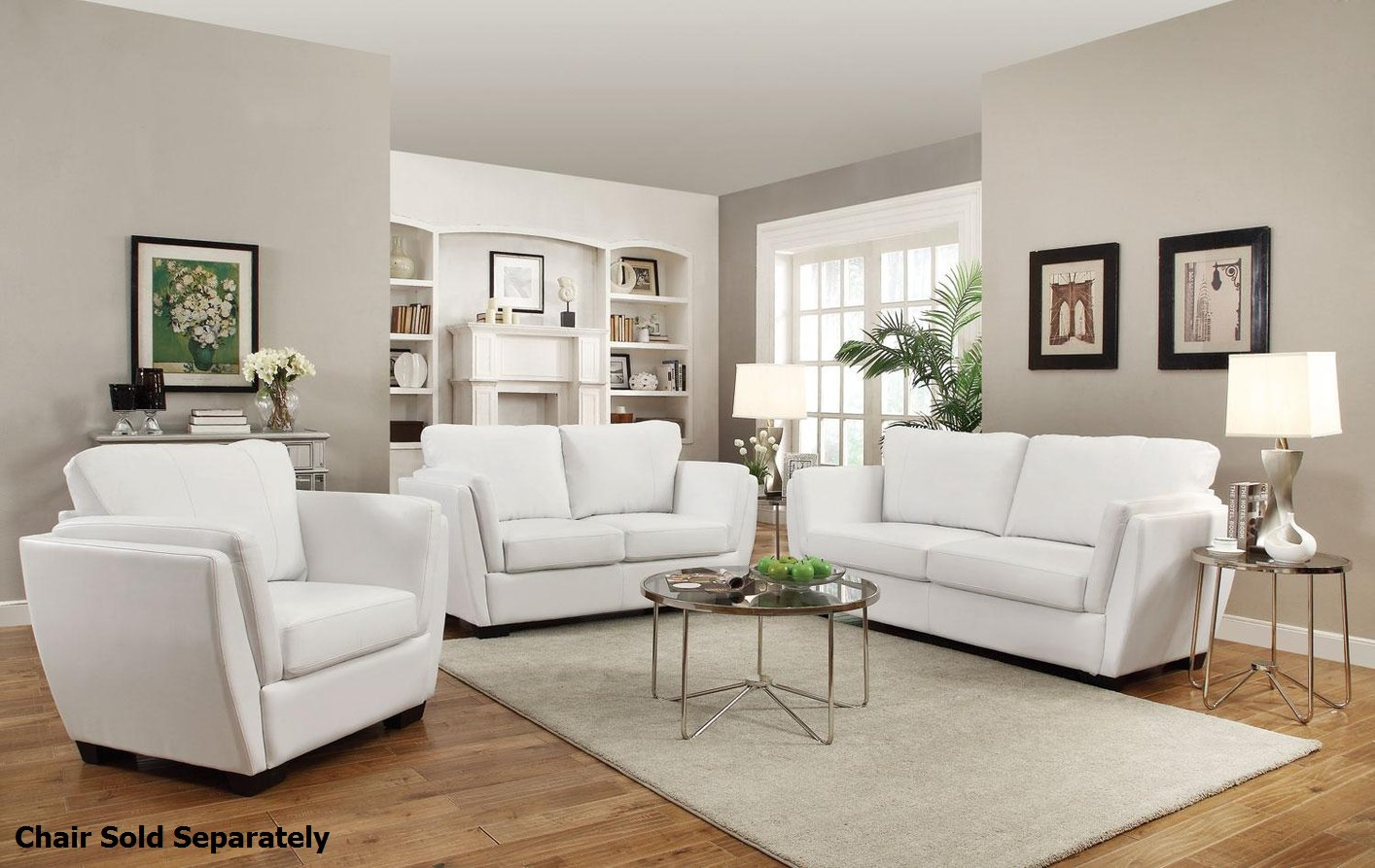 Beau Lois White Leather Sofa And Loveseat Set