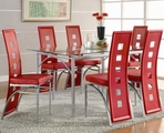 Los Feliz Red & Matte Silver Metal And Glass Dining Set