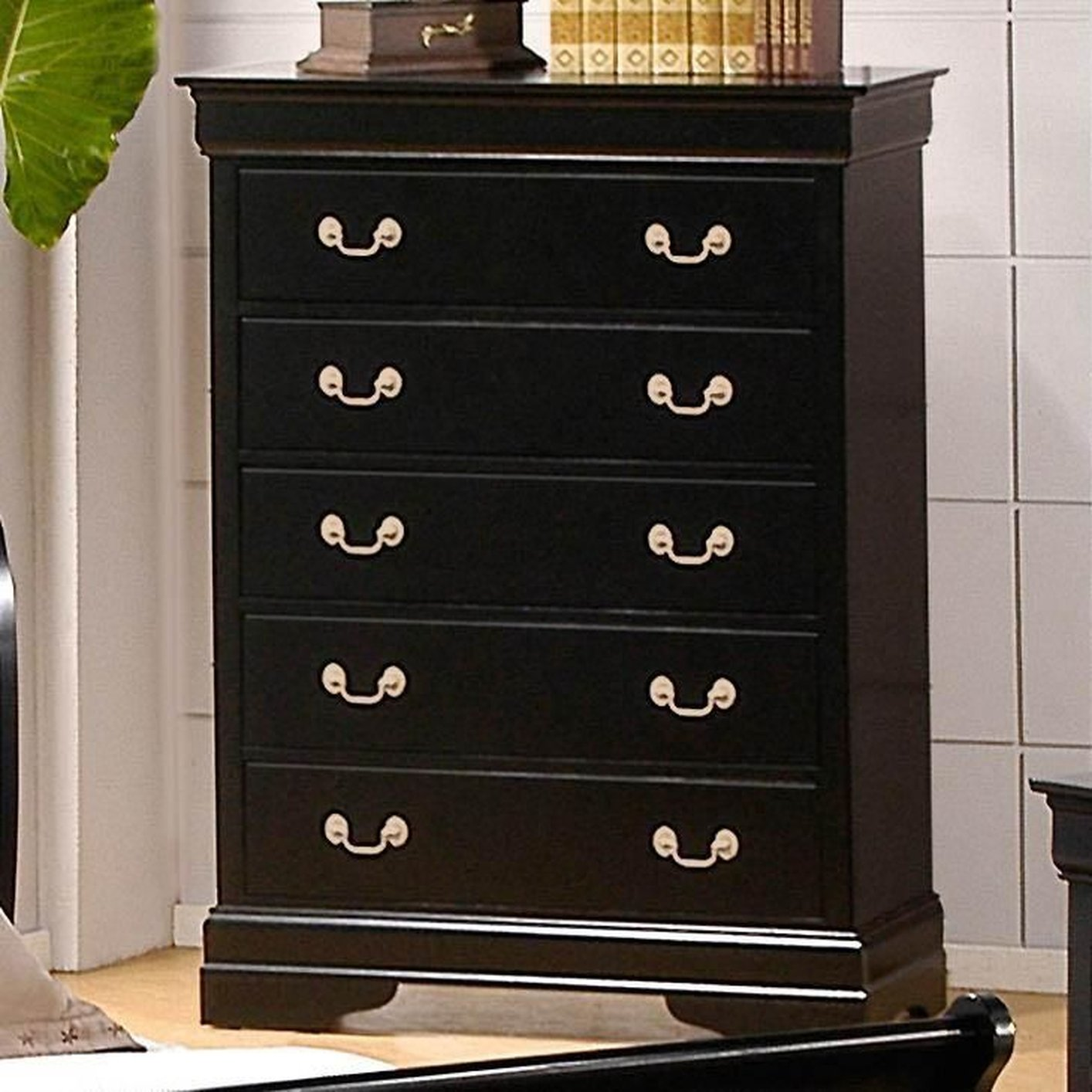 Louis Philippe Deep Black Wood Chest Of Drawer Steal A