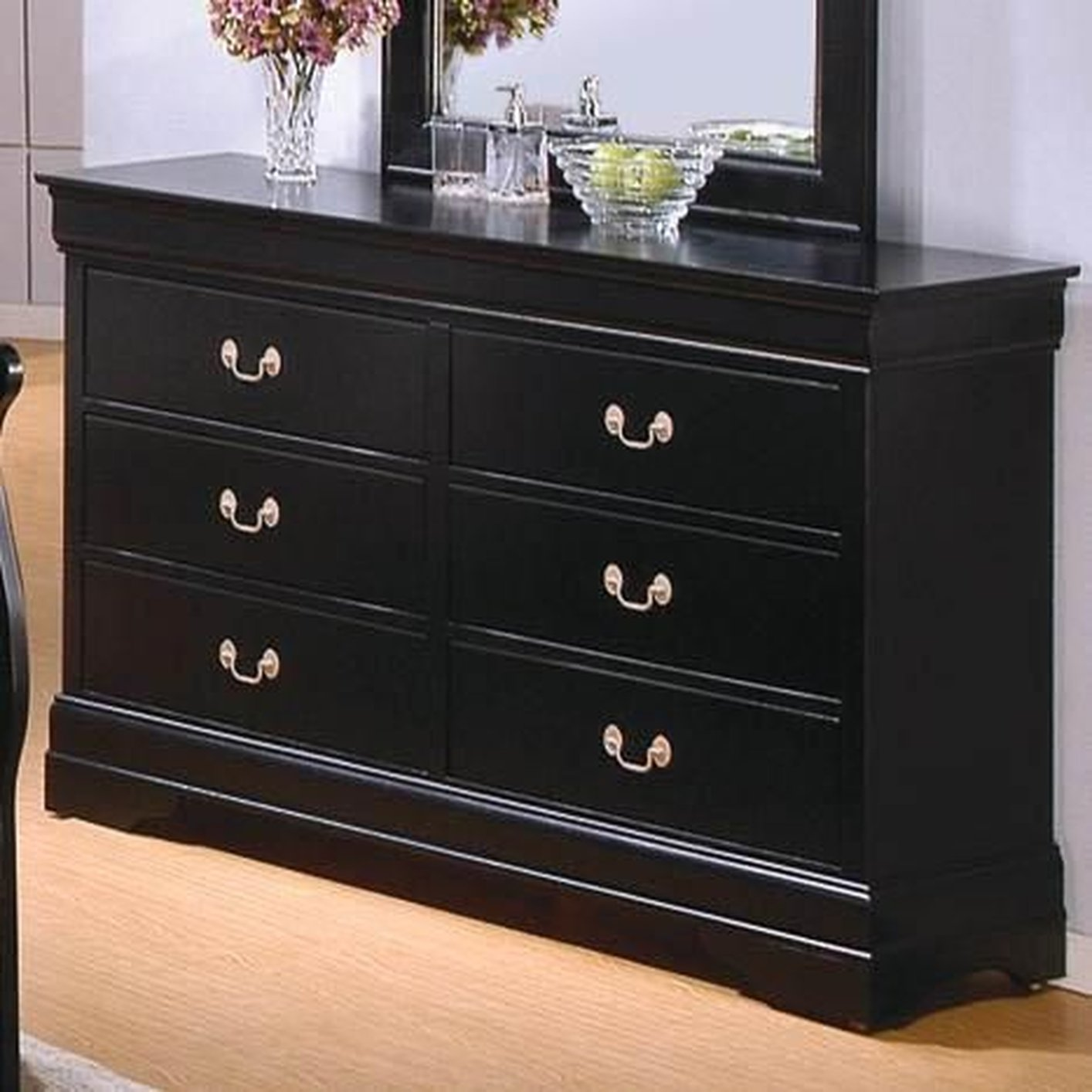 Louis Philippe Deep Black Wood Dresser