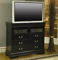 Louis Philippe Deep Black Wood Media Chest