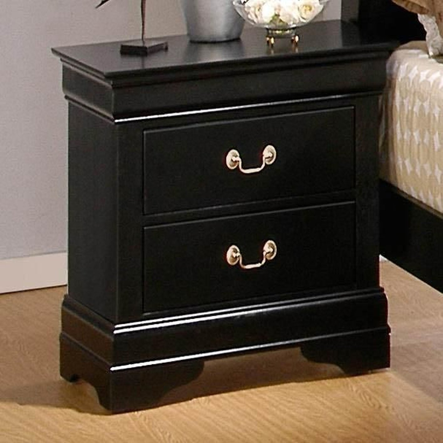 Louis philippe deep black wood nightstand steal a sofa for Black wood nightstand