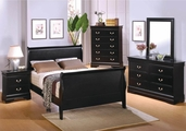 Louis Philippe Deep Black Wood Queen Bed Set