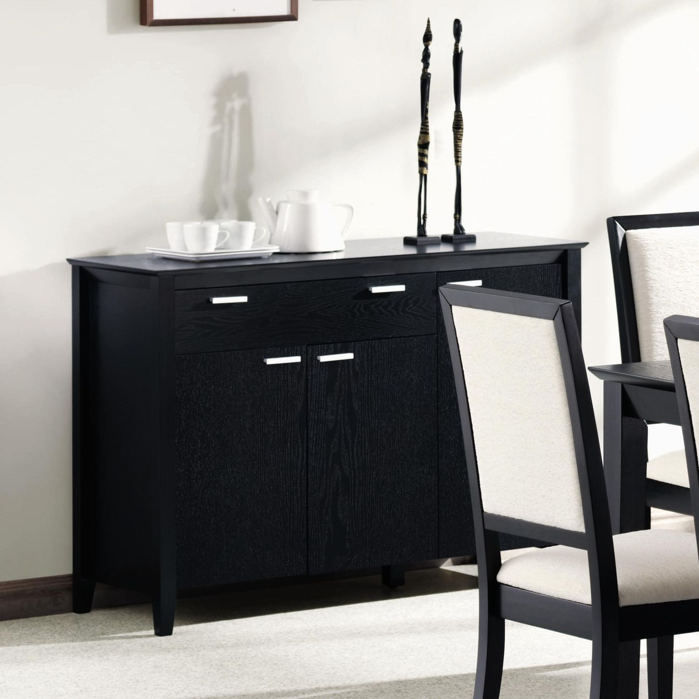 Coaster 101565 black wood server steal a sofa furniture outlet los angeles ca - Black dining room buffet ...