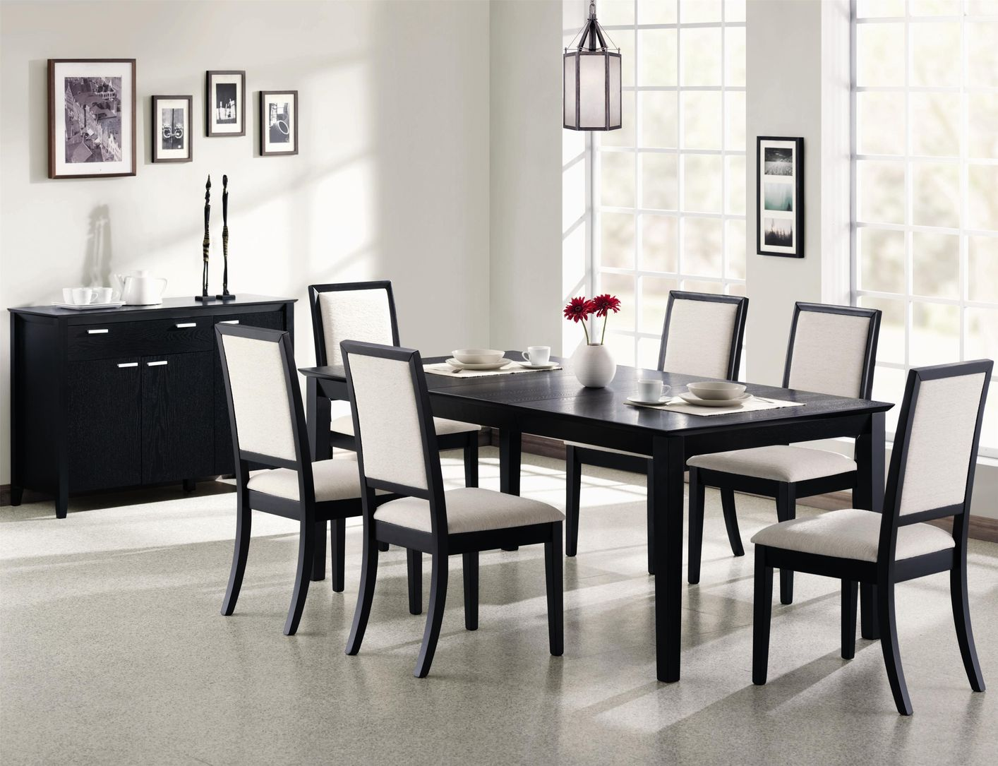 Coaster louise 101561 101562 black wood dining table set for Black dining room table set