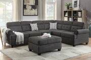 Lucius Black Fabric Sectional Sofa