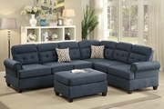 Lucius Blue Fabric Sectional Sofa