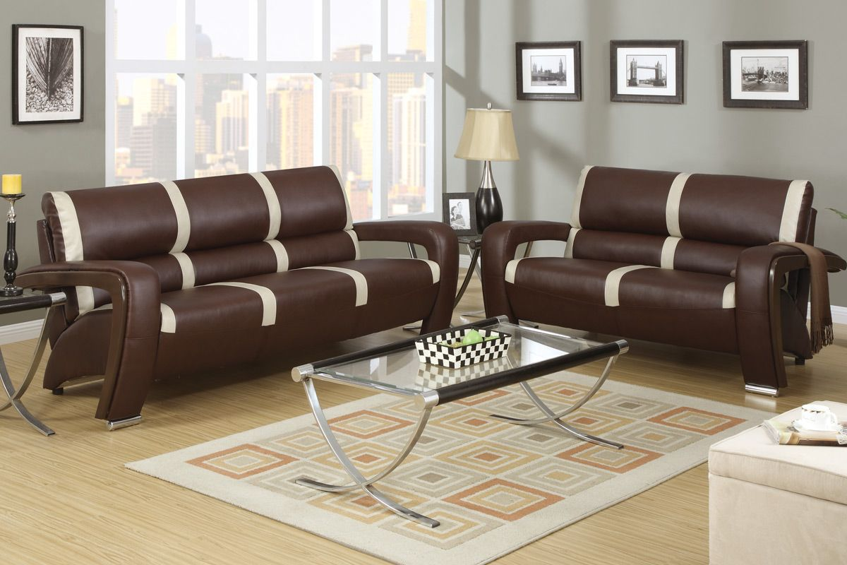 Mabel brown and ivory bonded leather sofa and loveseat set for Weko ma bel sofas