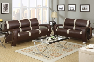 Mabel Brown And Ivory Bonded Leather Sofa And Loveseat Set
