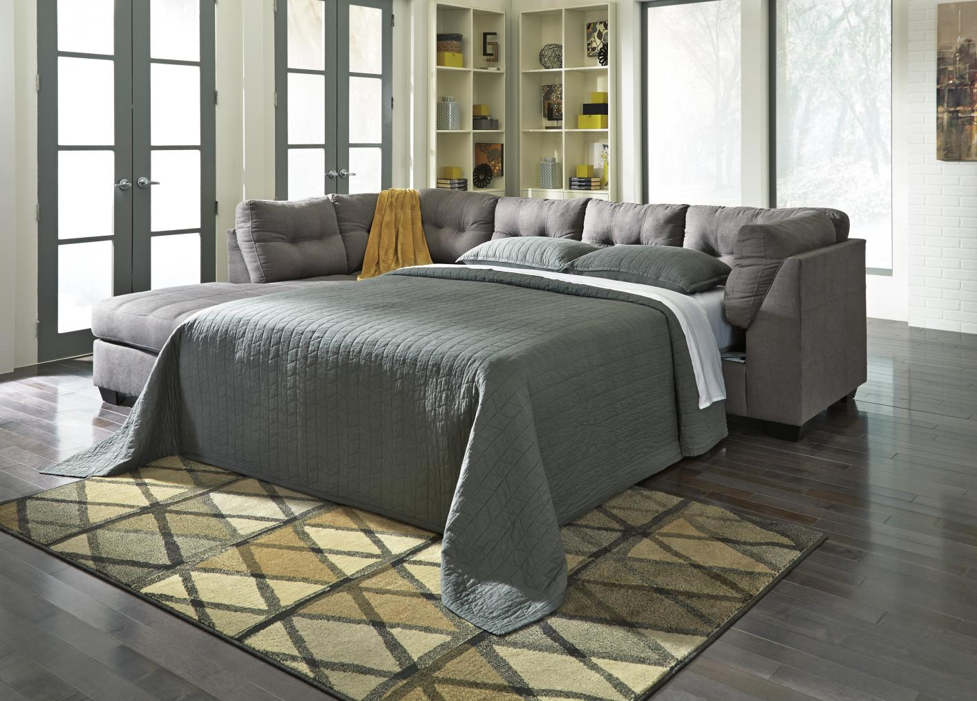 Sectional Sleeper Sofa : Maier grey fabric sectional sleeper sofa steal a
