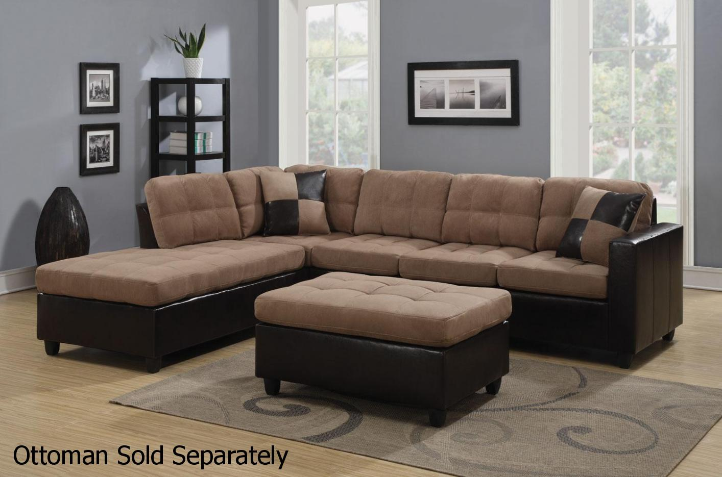 Merveilleux Mallory Beige Leather Sectional Sofa