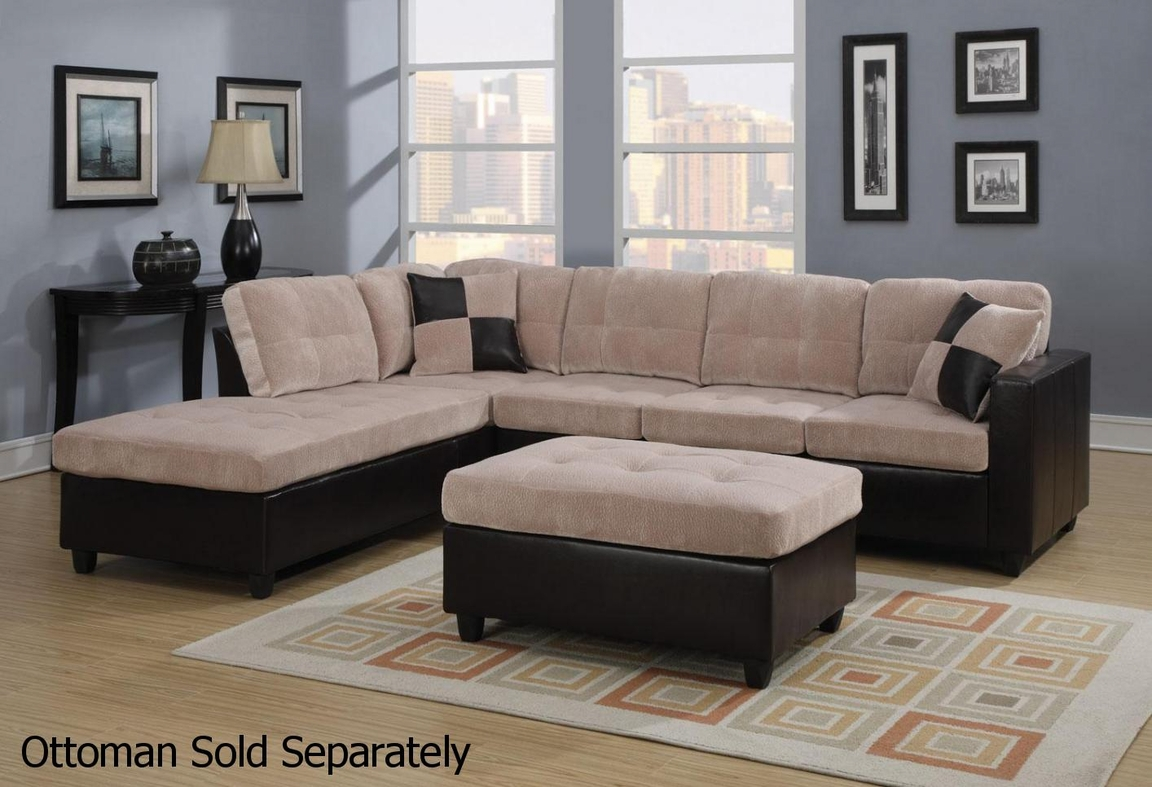 Mallory beige leather sectional sofa steal a sofa for Mallory material