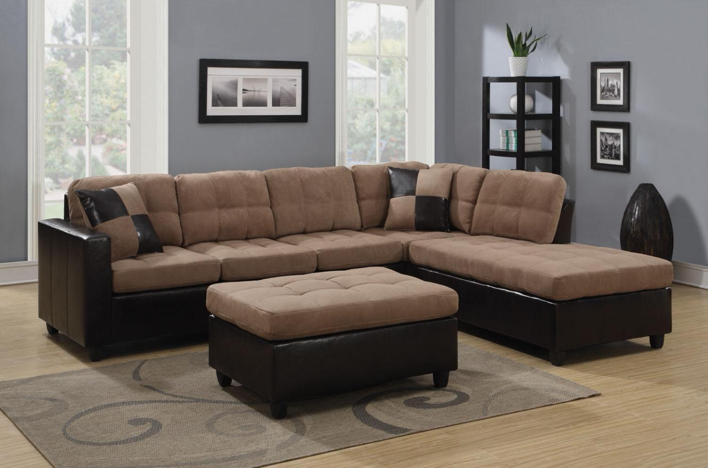 Mallory beige leather sectional sofa steal a sofa for Sectional couch