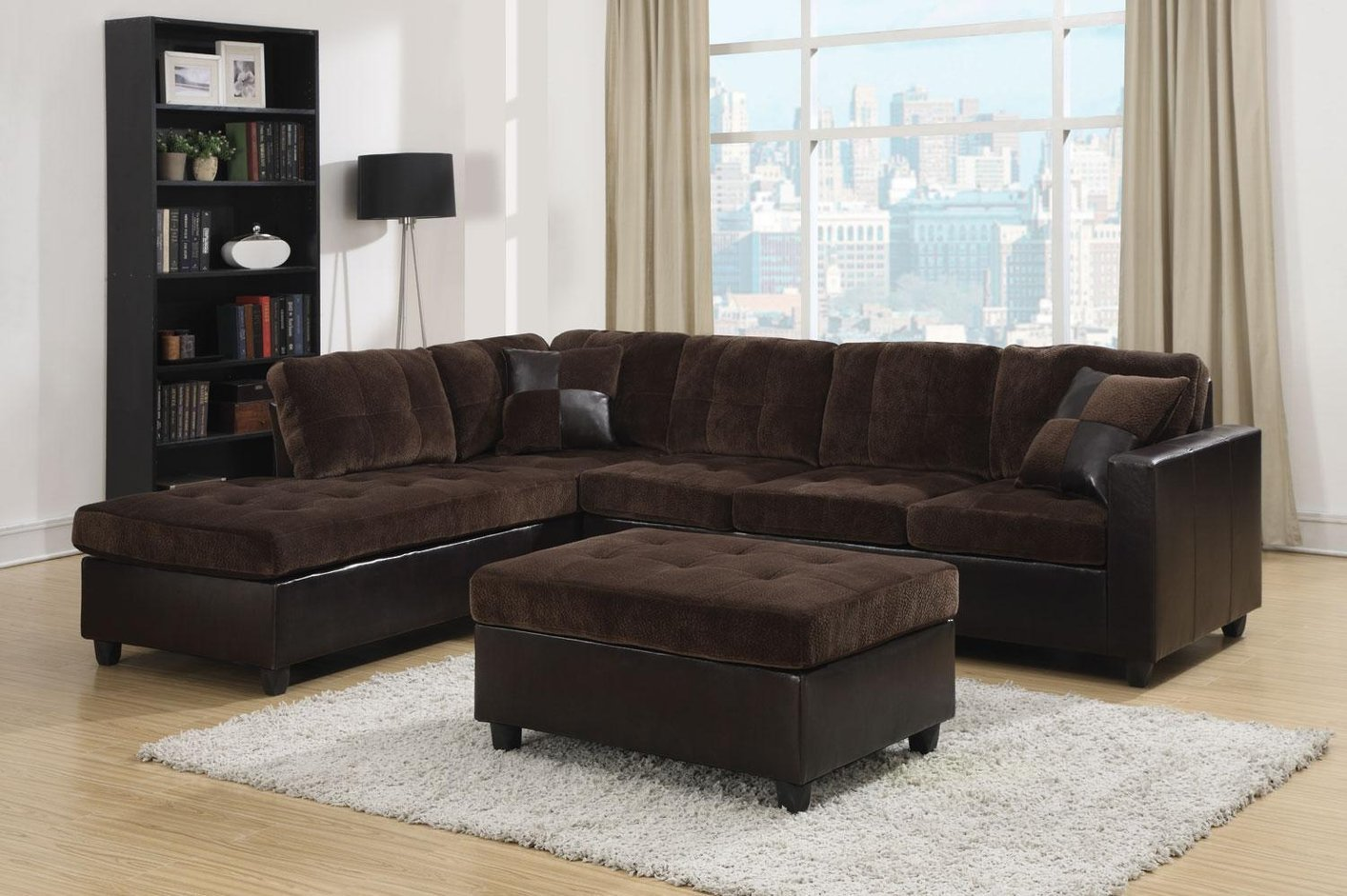 Coaster Mallory 505645 Brown Fabric Sectional Sofa Steal