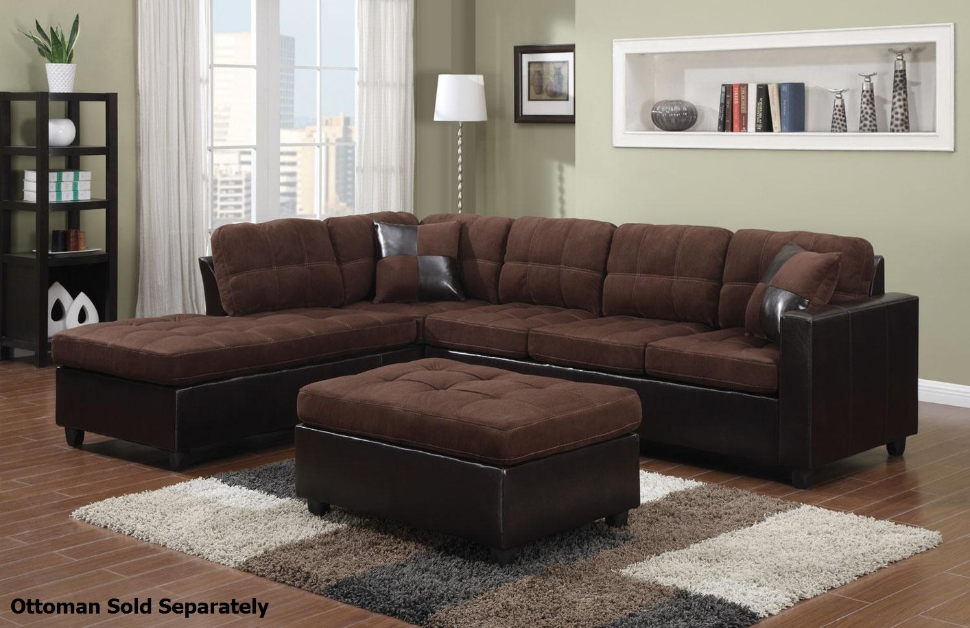 Coaster mallory 505655 brown fabric sectional sofa steal for Sectional couch