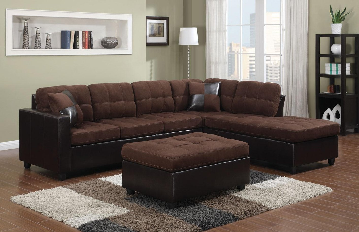 Coaster Mallory 505655 Brown Fabric Sectional Sofa