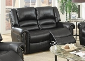 Malta Black Leather Reclining Loveseat