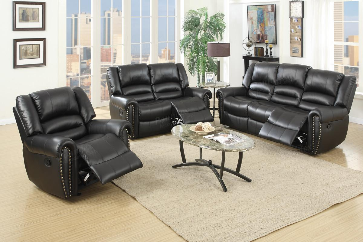 poundex malta f6749 black leather reclining loveseat steal a